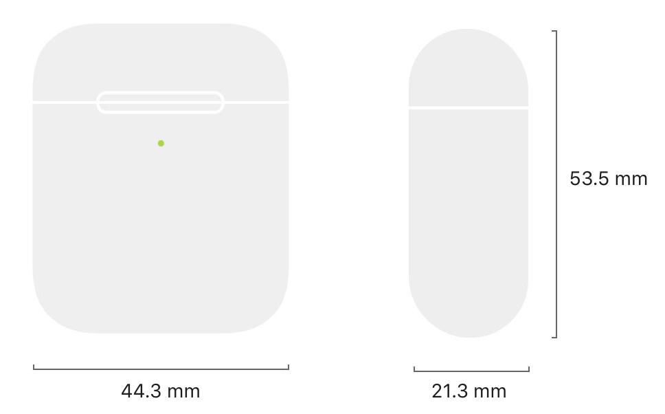 AirPods充電ケースサイズ
