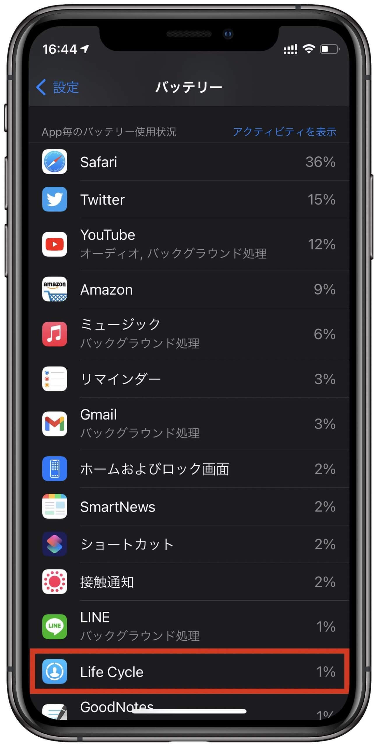 LifeCycleバッテリー消費