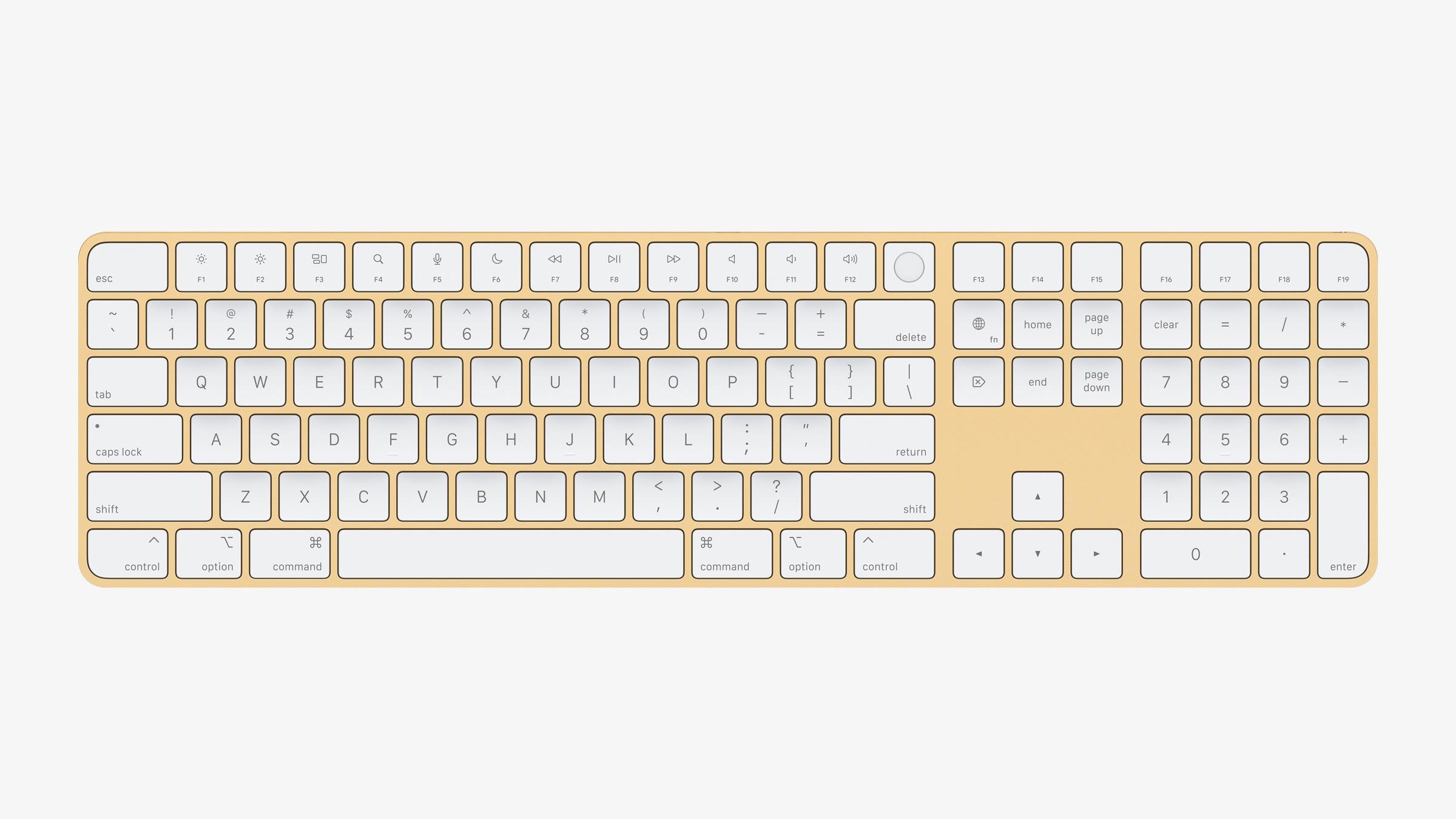 Apple new imac spring21 magic keyboard with numeric keypad yellow 04202021
